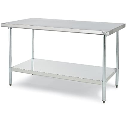 John Boos 18 Gauge Stainless Steel Economy Flat Top Work Table With  Galvanized Base And Shelf