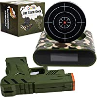 Creatov Target Alarm Clock with Gun - Infrared Target and Realistic Loud Sound Effects Fun Pistol Game Clocks for Heavy Sleepers Kids Boys Girls Infrared 0.8 MW Camouflage Design