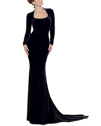 b90a608d117 Engood Women s Backless Lace Long Mermaid Evening Dress Boat Neck Prom  Formal Gowns Black M
