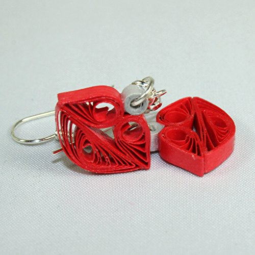Paper Anniversary Gift for Her, Handmade Earrings for Women Girls Kisses Red Lips Quilled Jewelry from Sweethearts and Crafts