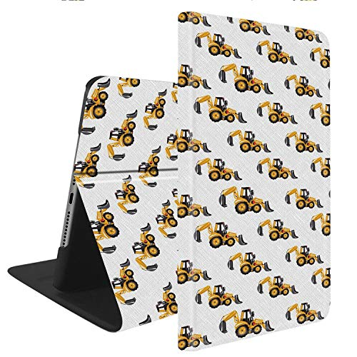 Compatible with iPad Air 3(2019) / iPad Pro 10.5(2017), Slim Fit All Round Protect with Auto Sleep/Wake Standable PU Leather case - Pattern with Tractor Backhoe Loader