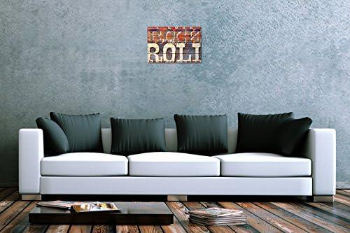 Allen Rétro plaque en métal emaillee US Deco I Love Rock and roll publicité M.A