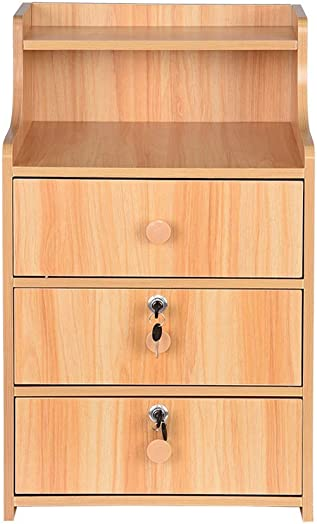 Simple End Table Bedroom Nightstand Coffee Table 3 Drawer with Lock Cabinet Storage Drawer and Shelf Bedside End Table