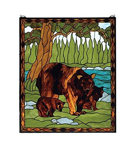 (Meyda Tiffany 72935 Brown Bear Stained Glass Window Panel, 25