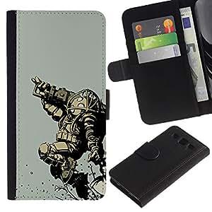 KLONGSHOP // Tirón de la caja Cartera de cuero con ranuras para tarjetas - Bi0Shock Big Daddy Gaming - Samsung Galaxy S3 III I9300 //