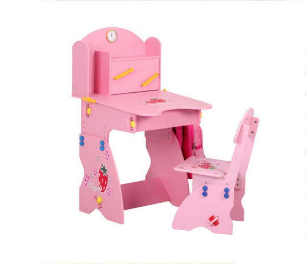 Portable Folding Chair Multi-Function Lifting Study Table Chair,Solid Wood Children's Study Table Chair Combination Convenient and Practical (Color : Pink)