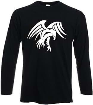 Camiseta de Manga Larga con Diseño de Águila Tribal Vector de Tatuaje, 100% Algodón, Divertida, Regalo de Cumpleaños Negro Negro Large 52-54: Amazon.es: Ropa y accesorios