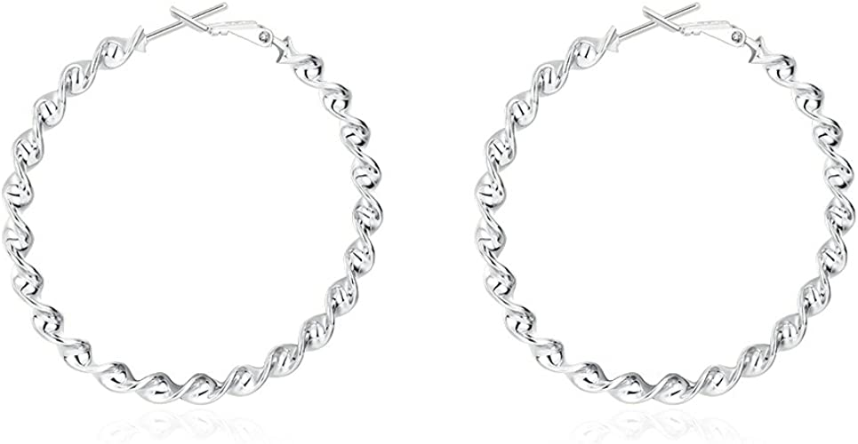 Silver Hoop Earrings Jewelry Birthday Gifts Presents for Women Anniversary