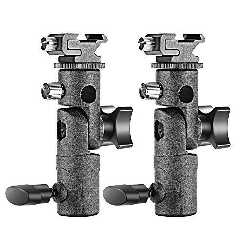 Neewer Professional Universal E Type Camera Flash Speedlite Mount Swivel Light Stand Bracket with Umbrella Holder for Canon Nikon Pentax Olympus and other Flashes, Studio Light, LED Light(2 Pack) (Bracket Flash Speedlight)