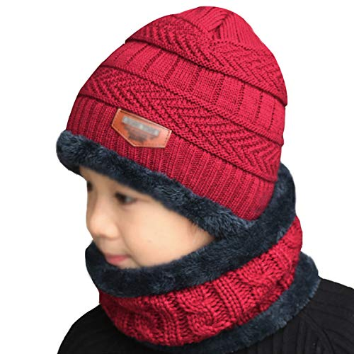 CLARA 2Pcs Kids Winter Knitted Hat Scarf Set Warm Slouchy Beanie Skull Cap Circle Scarf Wine Red