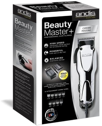 Andis Professional Beauty Master + Plus Hair Clipper Chrome 66360 + Case & Cape Great Quality by Andis