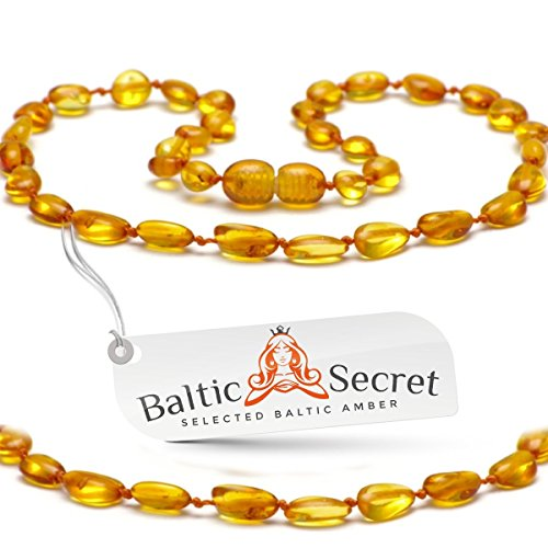 Amber Teething Necklace for Babies, Certified Amber Beads, 50% Higher in Value and Effectiveness, Extra Safe Teething Necklace with Teething Pain & Drooling Reduce Properties/HNY.P-BN29.5