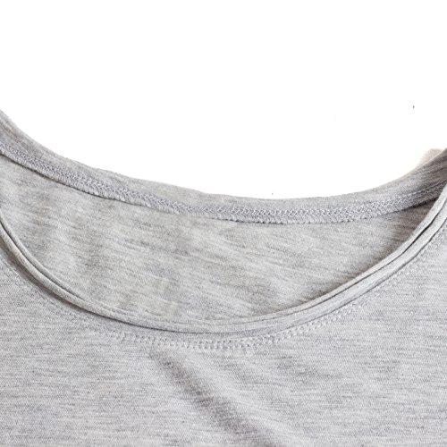 Beauty7 Camiseta Casual para Mujeres Color Puro Cuello Redondo Mangas Corta T Shirt Pullover Tee Tops Parte Superior Blusa Suelto Verano Gris