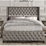 Atlin Designs Upholstered Queen Faux Leather Panel Bed in Gray
