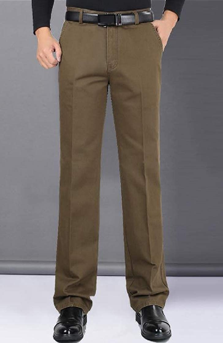 YUNY Mens Straight High Waisted Fall /& Winter Fit Hi-Waist Casual Pants AS2 35