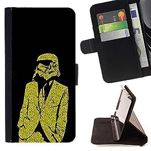 - Yellow Business Storm Troo - - Prima caja de la PU billetera de cuero con ranuras para tarjetas, efectivo desmontable correa para l Funny HouseFOR Apple Iphone 4 / 4S