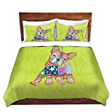DiaNoche Designs Microfiber Duvet Covers Marley Ungaro French Bulldog Lime
