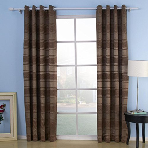 """twopages Miss Zebra Embossed Stripe Room Darkening Thermal Grommet Top Curtain (One Panel) 50Wx96""""L Multi Size Available Custom 63/84/96/102 Inch Length"""
