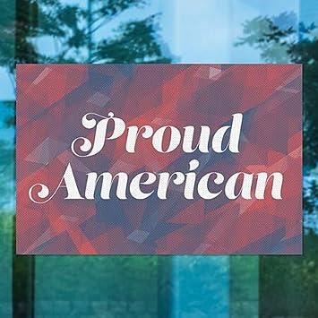 Proud American Perforated Window Decal CGSignLab 30x20 Inner CirclePatriotic