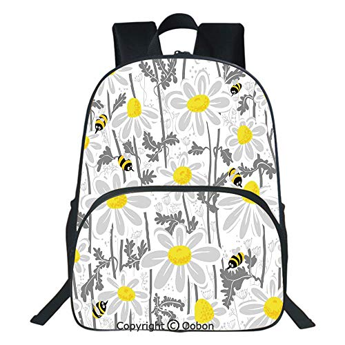 (Oobon Kids Toddler School Waterproof 3D Cartoon Backpack, Daisy Flowers with Bees in Spring Time Honey Petals Floret Nature Purity Bloom, Fits 14 Inch Laptop)