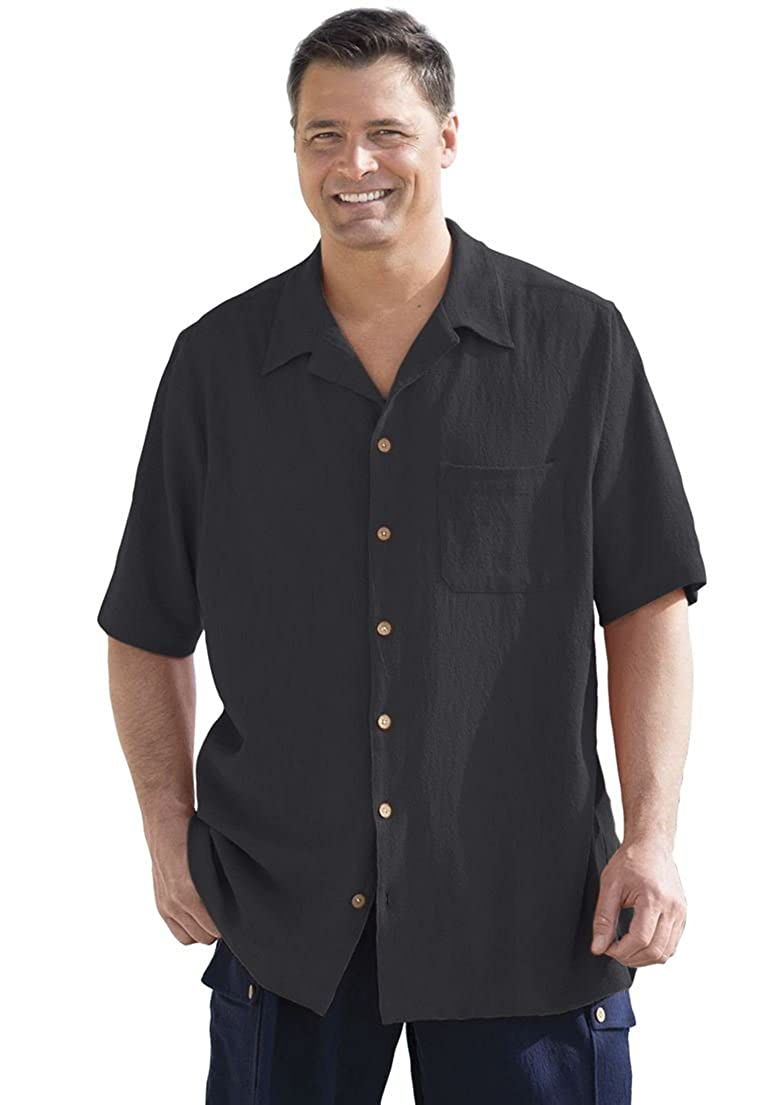 KingSize Men's Big & Tall Gauze Cotton Camp Shirt Black Tall-L 93446658054mkL~L