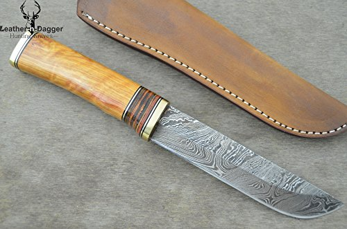 Leather-n-dagger | Professional High Quality Custom Handmade Damascus Steel Hunting Knife Exotic Olive Wood (100% Satisfaction Guaranteed) Great Gift Ld175 ()