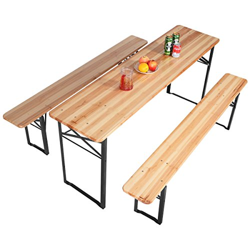 3 Pcs.Wooden Beer Table Bench Folding Set Top Picnic Patio Garden New