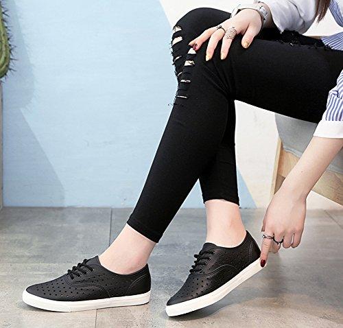 Aisun Damen Cut Out Flach Freizeitschuh Luftig Schnürsenkel Sneakers Schwarz