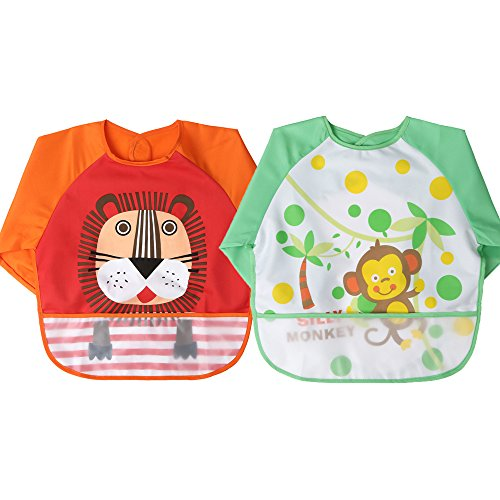 TinyToes Long Sleeve Bib Coverall Waterproof Unisex Soft Washable Baby 3 Pack