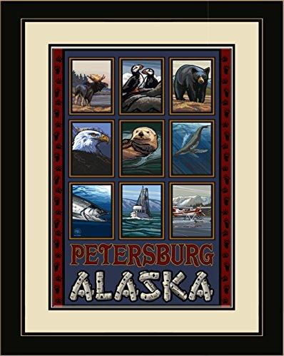 Northwest Art Mall PAL-1005 LFGDM Petersburg Alaska Collage Framed Wall Art by Artist Paul A. Lanquist, 20 by - Petersburg Mall