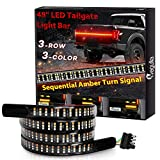 48inch Triple-Row Tailgate Light Bar with Amber Turn Signal, Megulla LED Truck Tailgate