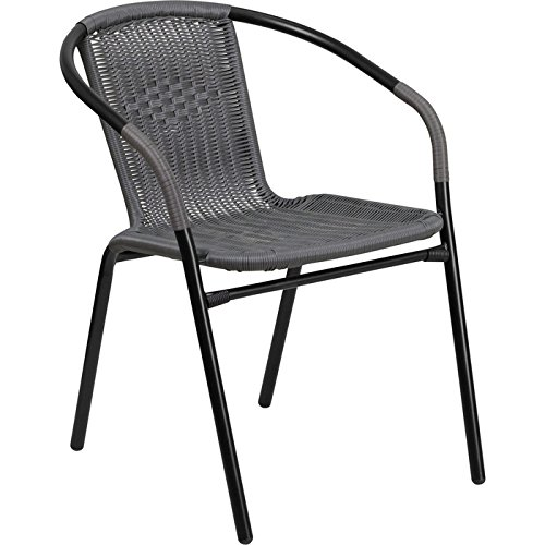 Flash Furniture Gray Rattan Indoor-Outdoor Restaurant Stack Chair by Flash Furniture