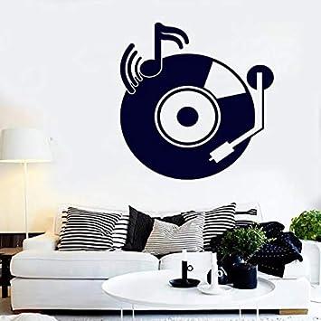 Etiqueta de la pared del disco retro Tocadiscos vintage Notas ...