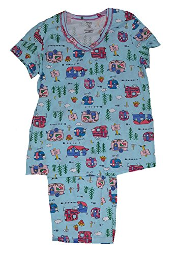[RV There Yet? RVs All Over Blue 2 Piece Knit Pajama Sleep Set - X-Large] (Knit Two Piece Set)