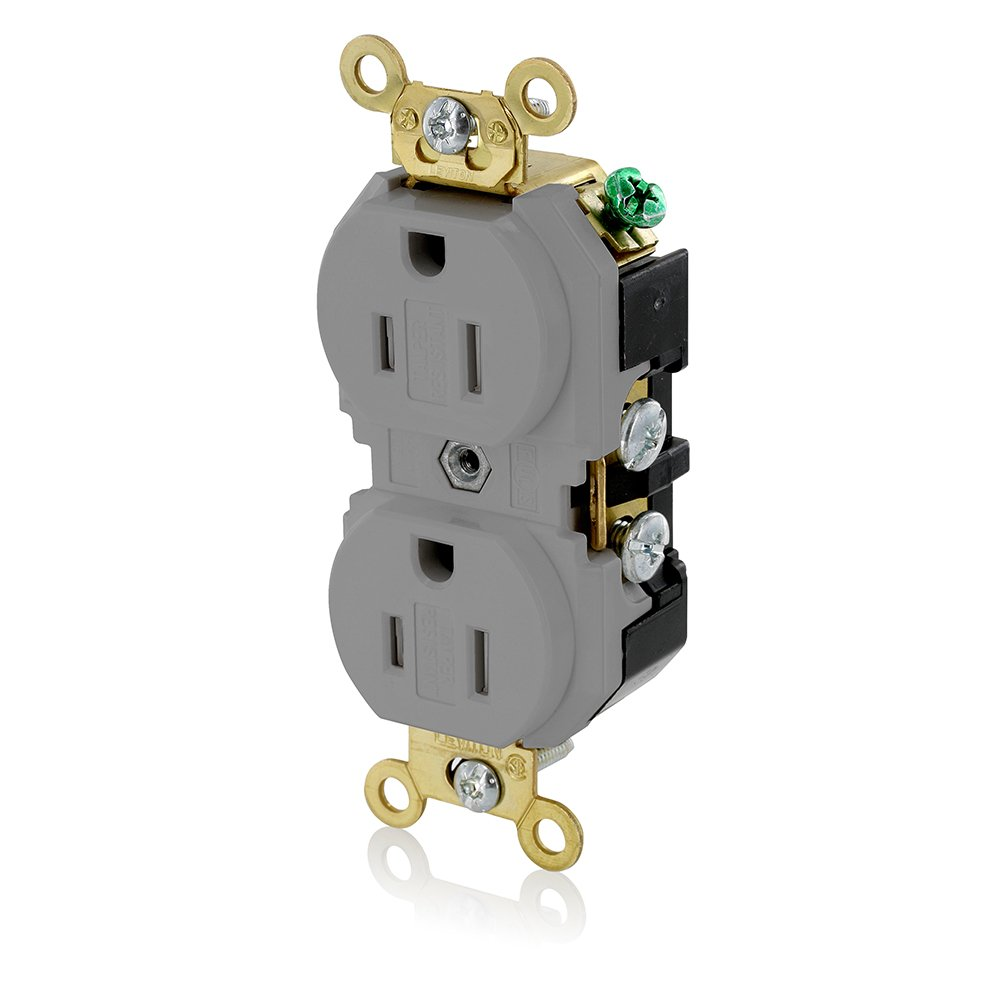 Leviton 5262-SGG 15-Amp, 125-Volt Industrial Grade Tamper-Resistant Duplex Receptacle, Gray