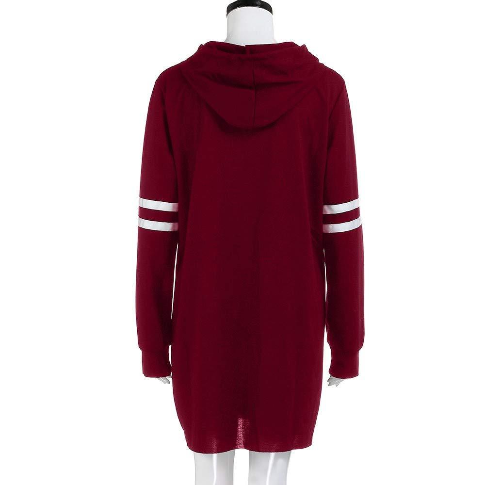 Women Hoodie Long Sleeve Long Sweatshirt Jumper Pullover Dress