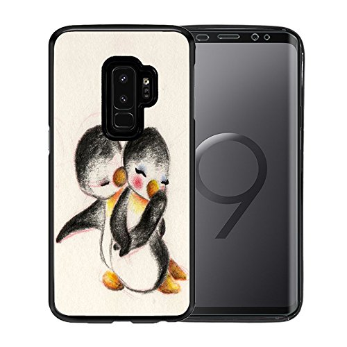 Cover For Samsung Galaxy S9 Plus Case, TPU Black Case For for Samsung Galaxy S9 Plus 6.2 Inch - Cute penguin couples