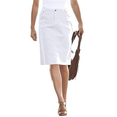 a20a0605629 Jessica London Women s Plus Size True Fit Denim Short Skirt White Denim