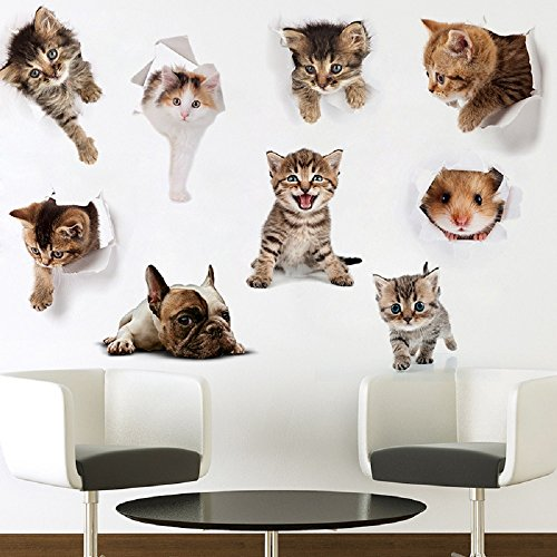 - Piu Fashion 9PCS New 3D Removable Cartoon Animal Cats Wall Stickers Removable Vinyl Art Murals Painted Walls Cute Cat Decor Posters for Nursery Room Toilet Kitchen Offices