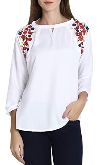 e8eaa6712f717 Triumphin Women s Girl s Rayon Cotton Boat Neck Embroidered Casual and  Western Wear Top (White