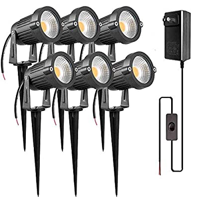 ZUCKEO 5W LED Landscape Spotlight 12V 24V Low Voltage Garden Light COB Outdoor Decorative Light Landscape Lights Low Voltage Lighting Patio Garden Pathway 6Pack