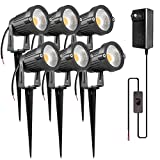 ZUCKEO 5W LED Low Voltage Landscape Lights 12V 24V Garden Light Transformer, IP65 Waterproof Landscape Lighting COB Outdoor Decorative Spotlight for Patio Garden Pathway Warm White (6 Pack)