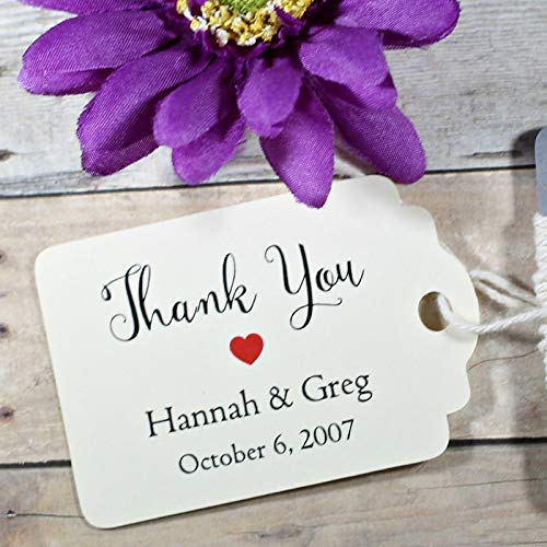 Personalized Cream Wedding Favor Tags - Thank You Tags (Set of 20)
