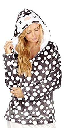 Ladies Warm Winter Christmas Animal Snuggle Top / Hoody / Lounge Top with Spots