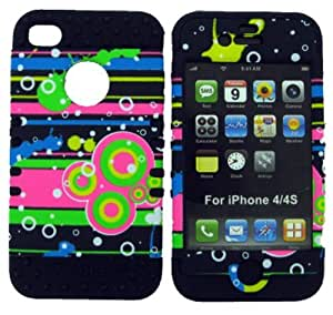 CellTx Shockproof Hybrid Case For Apple (iPhone 4, 4S, 4G) and Stylus Pen, Black Soft Rubber Skin with Hard Cover (Glow in the Dark, Circles) AT&T, T-Mobile, Sprint, Verizon, Cricket, Virgin Mobile, Boost Mobile by Maris's Diary