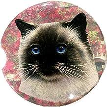 ES Pets Absorbent Stoneware Car Cup Holder Coaster - Himalayan Cat