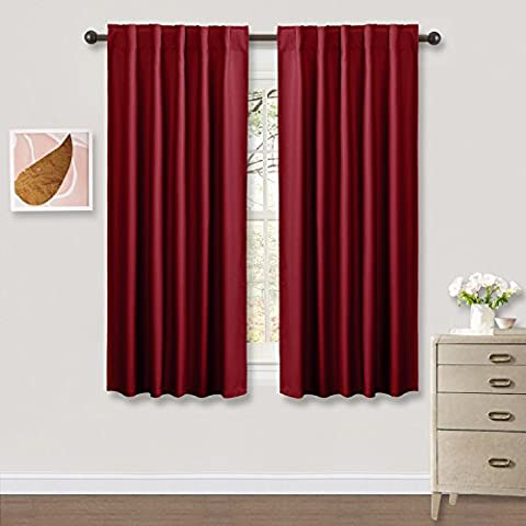 Heavy-duty Blackout Window Curtains Panels - PONY DANCE Moedern and Elegant Back Tab and Rod Pocket Draperies for Home Decor,42 x 63 Inch,Red,One (Eclipse 42x63)