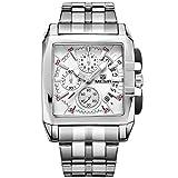 Megir Men's Chronograph Stainless Steel Quartz Watches Luminous Rectangle Wristwatch for Man White