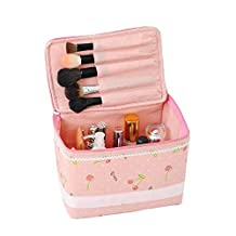 PINK Cute Fashionable Cherry Polka Dot Bow Lace Cosmetic Makeup Train Case Ba...