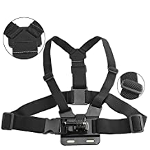 KanCai Chest Mount Harness for Gopro Hero 5 and 4, Session, Black, Silver, Hero+ LCD, 3+, 3, 2, 1 - Fully Adjustable Chest Strap - Also Includes J-Hook / Thumbscrew